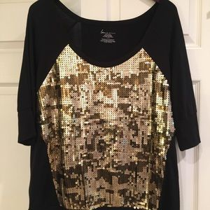 LANE Bryant Black Elbow Sleeve Top w/Gold Sequins